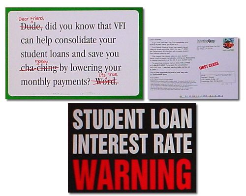 student loan postcards